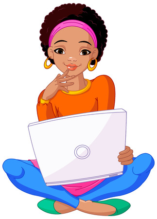 Happy young African woman sitting on cushion with laptop in lap