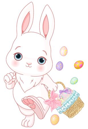 Easter bunny participating in an Easter egg hunt