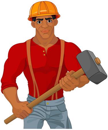 Cheerful construction worker holding hammer Иллюстрация