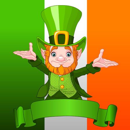 enano: Illustration of joyful leprechaun on Ireland flag background Vectores