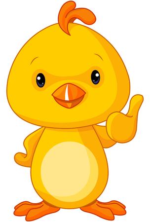 Cute amarillo bebé pollo con el pulgar hacia arriba