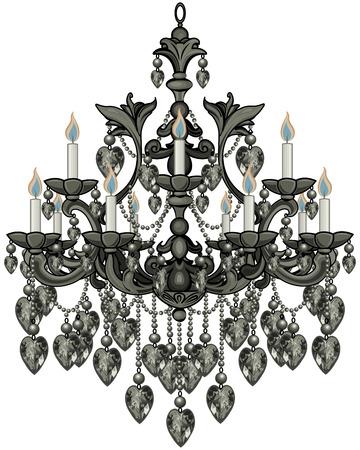Illustration of baroque black crystal chandelier