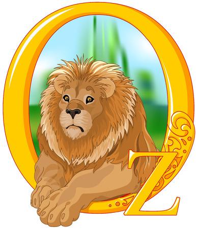 Illustration of cute Lion.    Wizard of Oz illustration Vettoriali