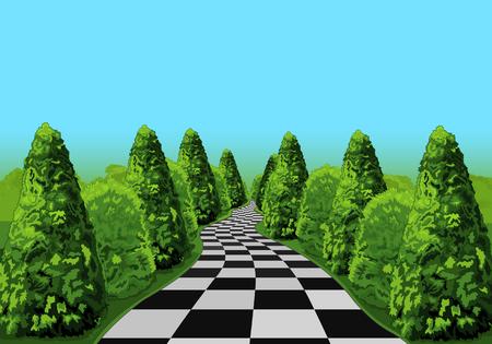 Une route longue et enchevêtrée au Wonderland Banque d'images - 74015989