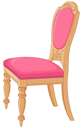 Illustration of pink antique chair