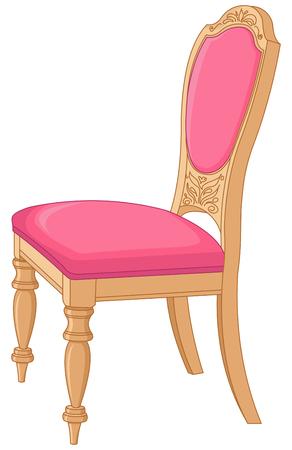 ピンクのアンティーク椅子のイラスト