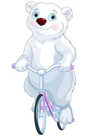 Cute polar bear riding a bicycle