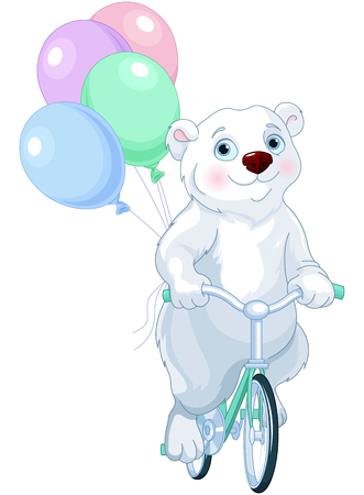 Cute polar bear riding a bicycle with balloons