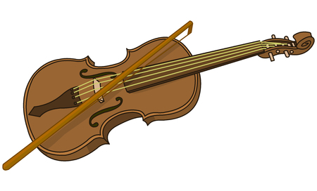 Illustration of cartoon violin and bow Illustration