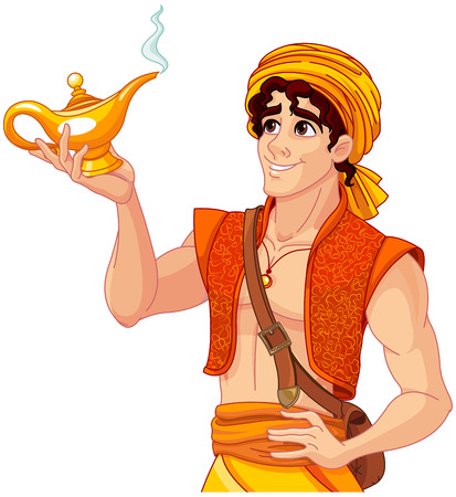 Aladdin holds his magic lamp
