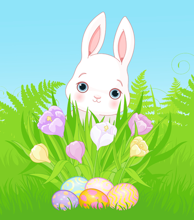 Cute Easter bunny looking for eggs between blossom flowers