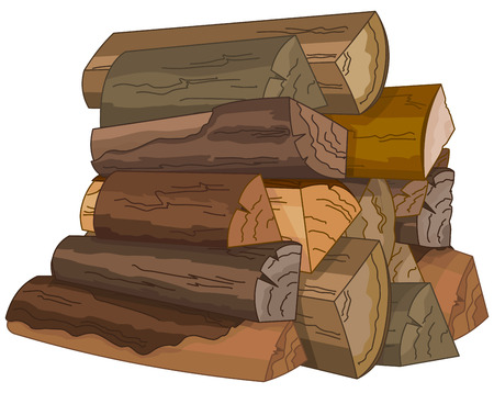 wooden cut: Illustration of the logs of fire wood Illustration