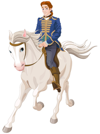 Illustration of Prince Charming riding a horse Stok Fotoğraf - 75086061