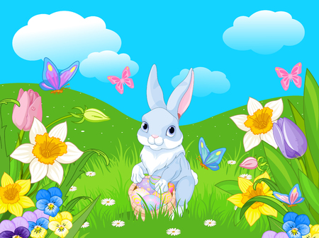 Easter bunny with a basket full of Easter eggs Illustration
