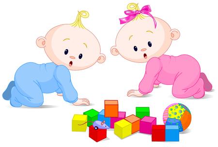 キューブの 2 つのかわいい演奏赤ちゃん  イラスト・ベクター素材