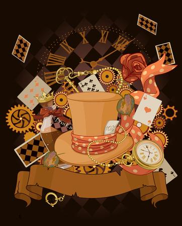 Wonderland design in steampunk stile