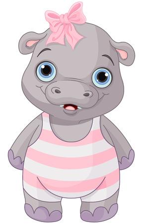 Illustration of cute baby hippo girl