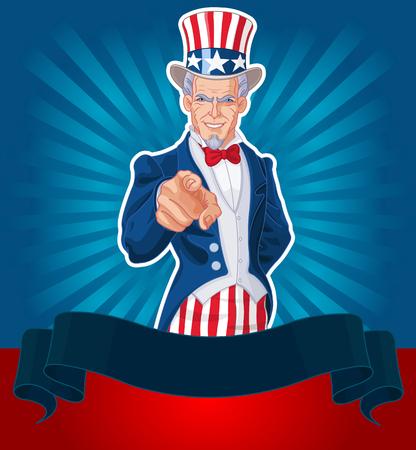 Uncle Sam pointing patriotic design. 向量圖像