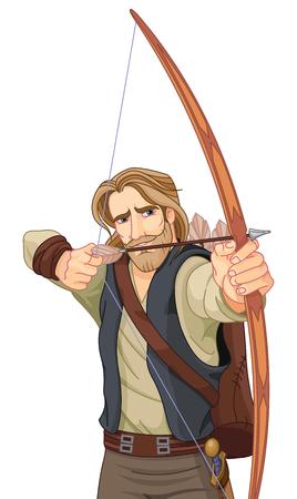 Robin Hood con un arco listo para disparar. Foto de archivo - 75957714