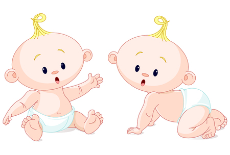 Illustration of very cute baby twins.