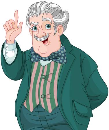 Illustration of Victorian style gentleman talking. Illustration