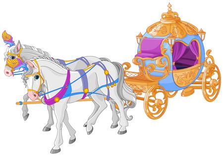 El carro dorado de Cenicienta. Ilustración de vector