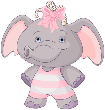 Illustration of cute baby elephant girl