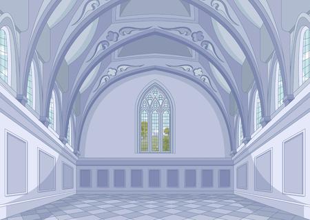 Illustration of medieval castle hall