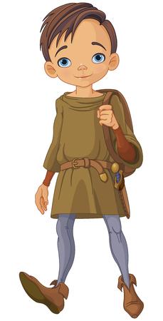 Illustratie van schattige middeleeuwse jongen