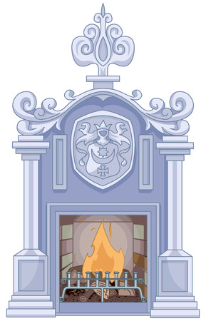 Illustration of medieval fireplace