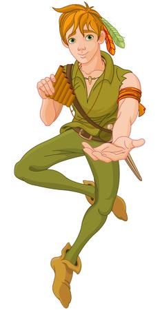 Boy wearing Peter Pan costume extends a hand