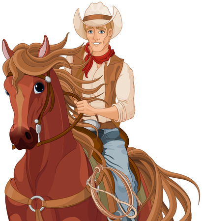 Illustration of horse riding cowboy