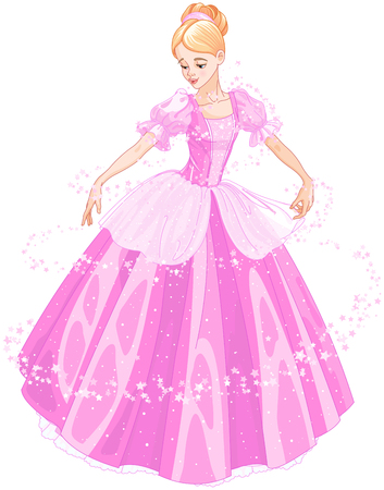Cinderella is looking at her new ball dress Illustration