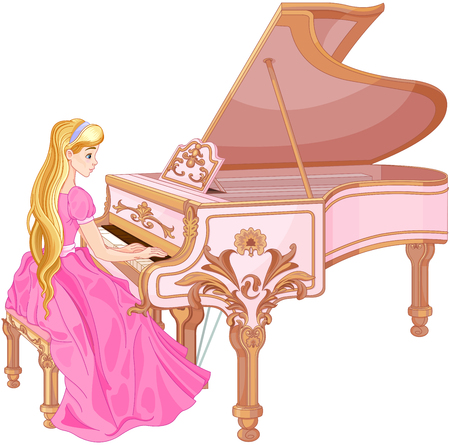 artwork: Illustration of princess playing the piano
