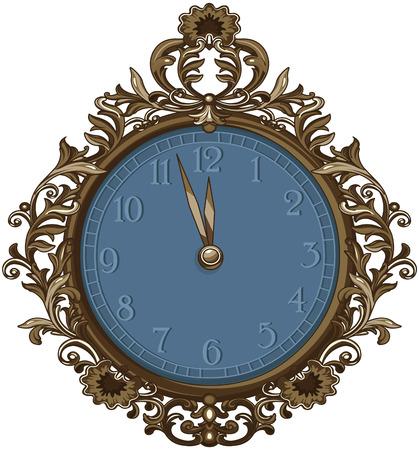 Illustration of retro midnight clock
