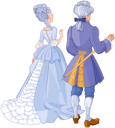 Illustration of gentleman and lady in beautiful evening dress Illustration