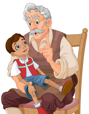 marioneta de madera: Mister Geppetto enseña la muñeca de Pinocho