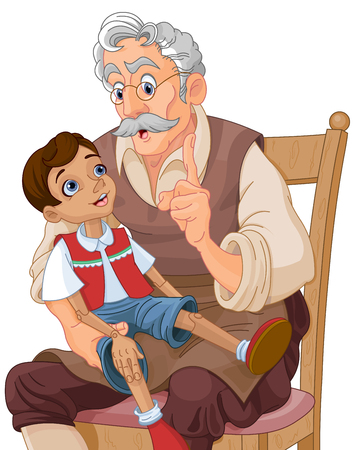 Mister Geppetto teaches Pinocchio doll Illustration