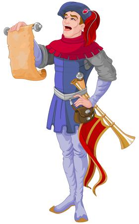 Illustration of herald reading a scroll Illustration