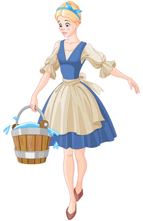Illustration of a girl holding a bucket