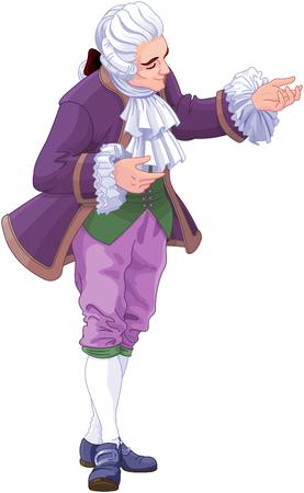 Illustration of bowing footman