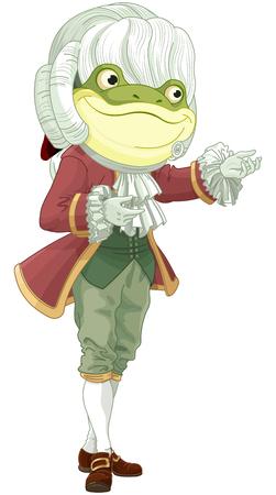 Illustration of bowing footman frog