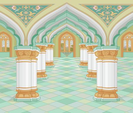 Illustratie van middeleeuws Arabisch Paleis