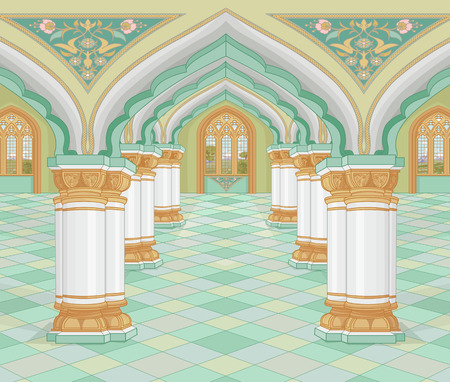 Illustration of medieval Arabic Palace