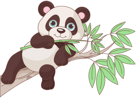 Illustration of cute panda is sitting on a branch Иллюстрация