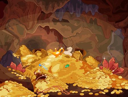 Ilustracja magicznej jaskini skarbca