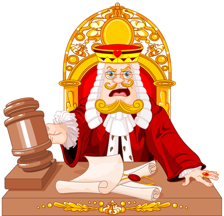 King of Hearts judge with gavel makes verdict for law