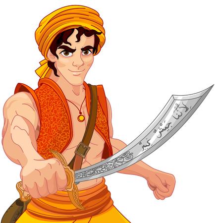 알라딘은 그의 마법의 무력을 지니고있다. 일러스트