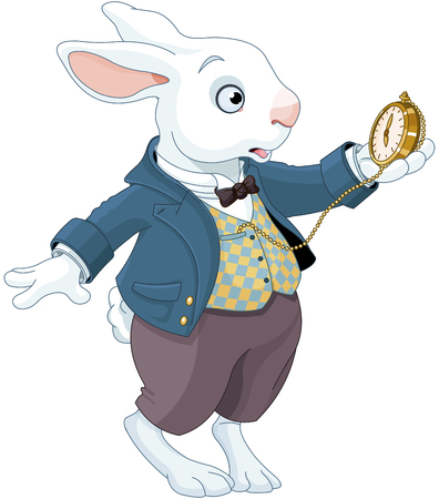 Illustration of white rabbit holds watch