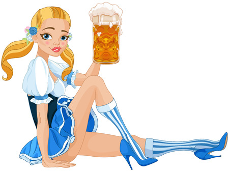 Het grappige Duitse meisje het drinken bier